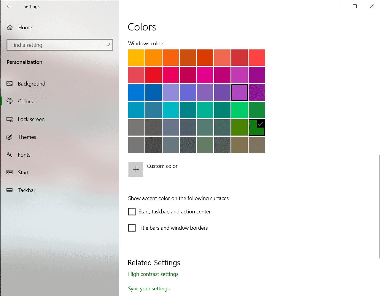 How to change the Taskbar Colour in Windows 10
