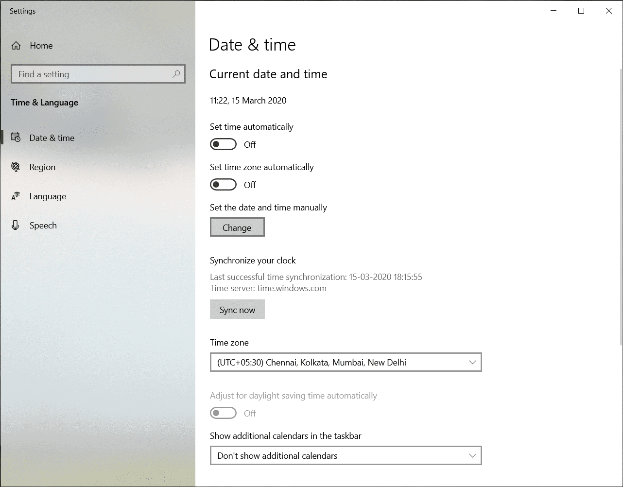 How to change Date and Time on Windows 10